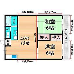 Osaka Metro長堀鶴見緑地線 鶴見緑地駅 徒歩12分の賃貸マンション 1階2LDKの間取り