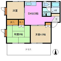 サンセゾン A棟[1階]の間取り