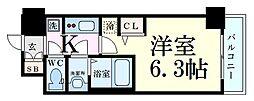 エステムコート新大阪XIIオルティ 5階1Kの間取り