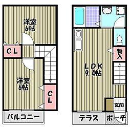 大阪府堺市東区高松の賃貸アパートの間取り