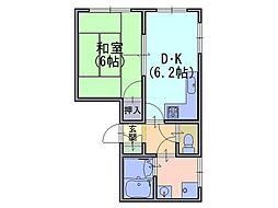 コテージ長岡[1階]の間取り