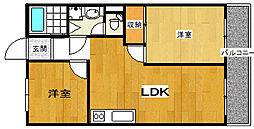 ハイツ木田[2階]の間取り