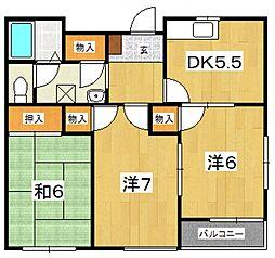 中山コーポB[201号室号室]の間取り