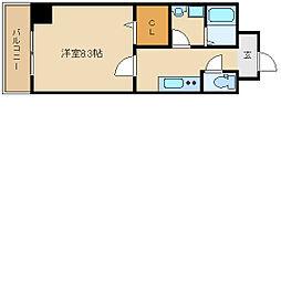 阪神本線 出屋敷駅 徒歩5分の賃貸マンション 9階1Kの間取り