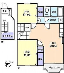 ブルースカイハイツII[2階号室]の間取り