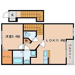 静岡県静岡市葵区上土の賃貸アパートの間取り