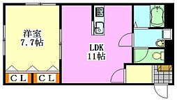 エコークレストI[103号室]の間取り