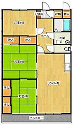 埼玉県さいたま市北区植竹町2丁目の賃貸マンションの間取り