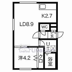 札幌市営南北線 中の島駅 徒歩5分の賃貸マンション 1階1LDKの間取り