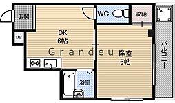 シャルマン新喜多 1階1DKの間取り