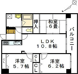 藤和己斐本町ホームズ弐番館[11階]の間取り