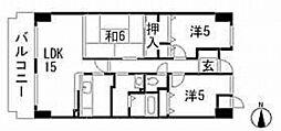 広島県広島市南区元宇品町の賃貸マンションの間取り