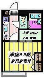 埼玉県蕨市錦町6丁目の賃貸アパートの間取り