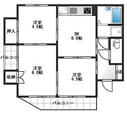 東京都中野区江古田3丁目の賃貸マンションの間取り