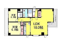 六甲道ロイヤルマンション[2階]の間取り