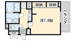 JR阪和線 熊取駅 徒歩5分の賃貸アパート 3階1Kの間取り