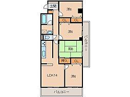 チサンマンション紀ノ川704号[7階]の間取り