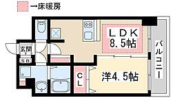 プレサンス新大阪ザシティ 15階1LDKの間取り