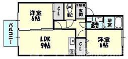福岡県糟屋郡志免町片峰1丁目の賃貸アパートの間取り