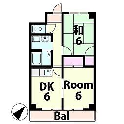 滋賀県湖南市石部西3丁目の賃貸マンションの間取り