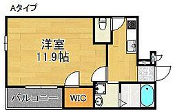サニーコート日根野II番館 1階1Kの間取り