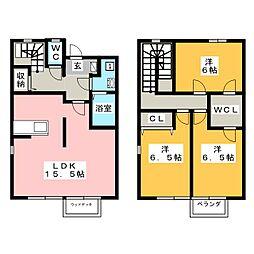[テラスハウス] 栃木県宇都宮市野高谷町 の賃貸【/】の間取り