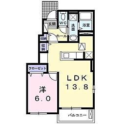 ルミナス A 1階1LDKの間取り