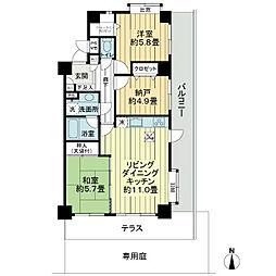 ライオンズマンション千葉山王[1階]の間取り