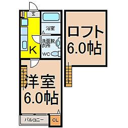 愛知県名古屋市守山区金屋2丁目の賃貸アパートの間取り