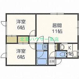 北海道札幌市東区北四十八条東2丁目の賃貸アパートの間取り