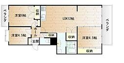 エメラルドマンション南小倉C棟[3階]の間取り