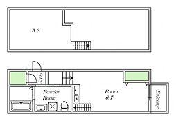 Osaka Metro谷町線 田辺駅 徒歩6分の賃貸アパート 1階ワンルームの間取り