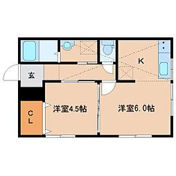 JR仙石線 榴ヶ岡駅 徒歩17分の賃貸アパート 1階2Kの間取り