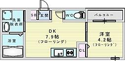 JR東西線 加島駅 徒歩4分の賃貸アパート 1階1DKの間取り