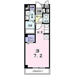 大阪府大東市栄和町の賃貸アパートの間取り
