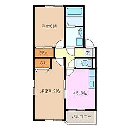 三重県四日市市尾平町の賃貸マンションの間取り