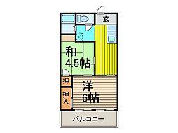 マンション吉川[4階]の間取り
