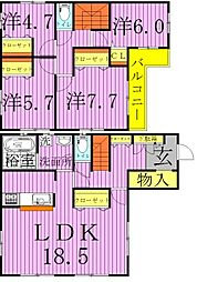 [一戸建] 千葉県野田市上花輪 の賃貸【/】の間取り