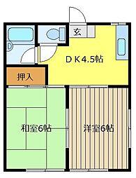 若松屋ハイツ[1階]の間取り