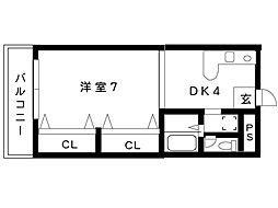 リッジヴィラ魚崎[502号室]の間取り