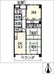 エステート垣戸[4階]の間取り