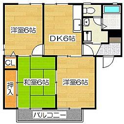 ハイドパーク筑紫野[201号室]の間取り