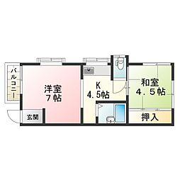 滋賀県甲賀市水口町下山の賃貸アパートの間取り