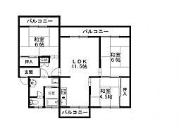 野間台住宅[342号室]の間取り