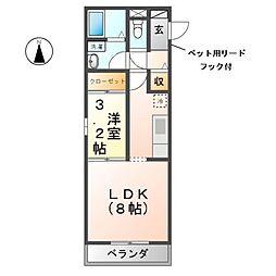 愛知県清須市新清洲6丁目の賃貸アパートの間取り