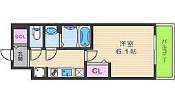プレサンスTHE TENNOJI 逢坂トゥルー 8階1Kの間取り