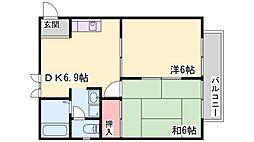 兵庫県小野市中町の賃貸アパートの間取り