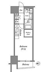 ザ・パークハビオ上野 13階ワンルームの間取り