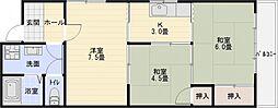 クレセントハイツ西川[3階]の間取り