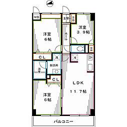 西武新宿線 上井草駅 徒歩13分の賃貸マンション 7階3LDKの間取り